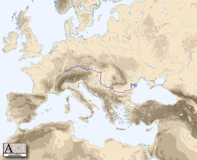 Carte des principaux cours d'eau d'Europe