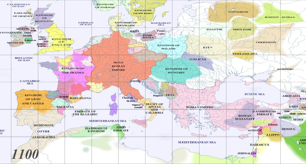 Full map of Europe AD 1100
