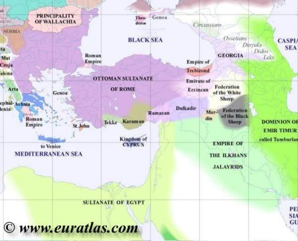 Ottoman empire map 1400